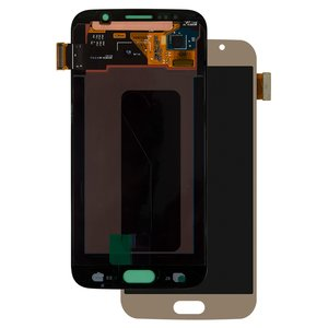 LCD compatible with Samsung G920 Galaxy S6, (golden, with touchscreen, original (change glass) )
