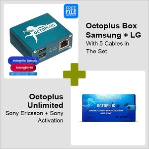 Octoplus Box Samsung + LG Edition with 5 in 1 Cable Set + Octoplus  Unlimited Sony/Sony Ericsson Activation