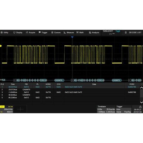Запуск и декодирование FlexRay SIGLENT SDS-5000X-Flexray