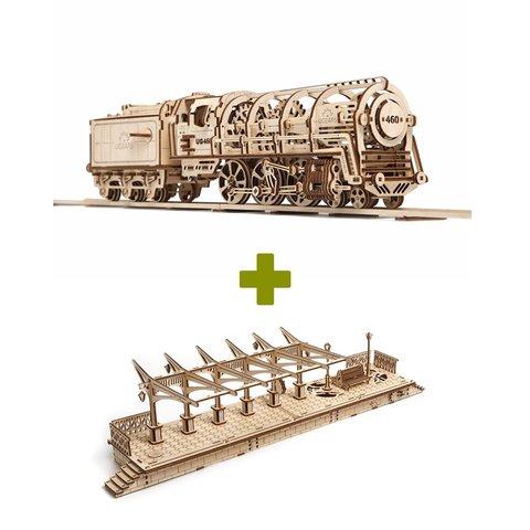 Rompecabezas mecánico 3D UGEARS juego 2 en 1: Locomotora + Andén